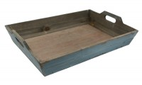 RICARDO Tablett aus Fichtenholz antikblau patiniert